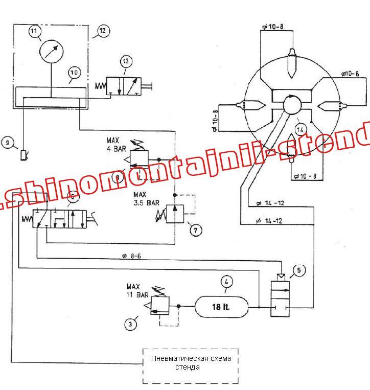 Рис. 34.  Пневматическая схема устройства для взрывной накачки (GT) .