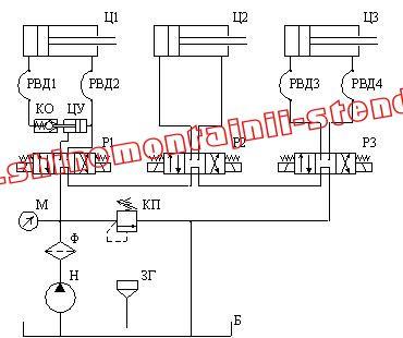 Схема гидравлическая принципиальная. Шиномонтажный станка Ш515Б